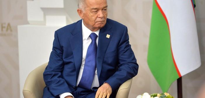 President Islam Karimov (1938-1916) avbildet i 2015 under et møte med sin russiske kollega Vladimir Putin. Hentet fra Wikimedia Commons.