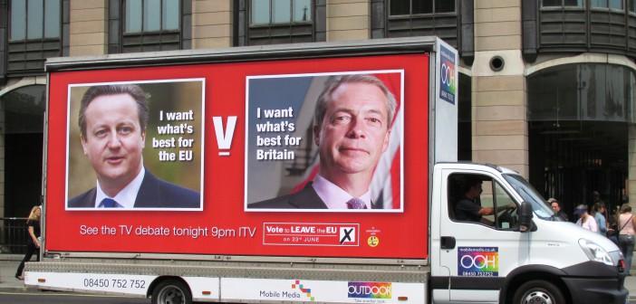 Reklame fra Leave-kampanjen. Foto:  David Holt/Wikimedia Commons