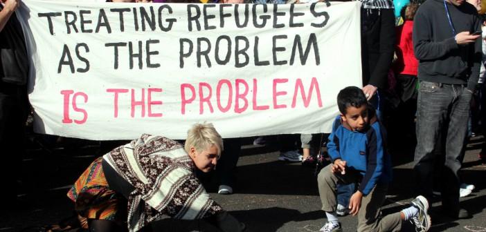 Protest i Melbourne mot innvandringspolitikken i landet. Foto: Takver/Flickr